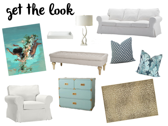 Get the Look - White and Blue Living Room